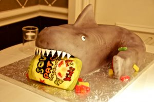 shark cake with sour patch kids in fondant and gum paste