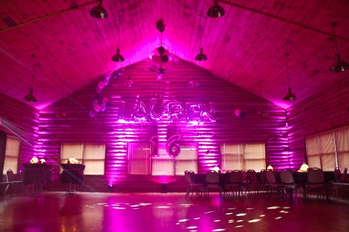 pink sweet sixteen lighting with vaulted ceiling name balloons