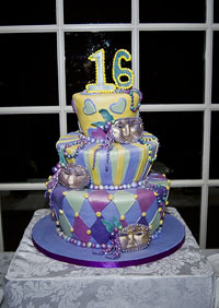 mardis gras cake sweet sixteen multi-level fondant purple yellow light blue