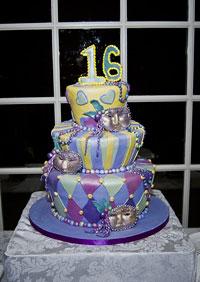 mardis gras cake sweet sixteen multi-level fondant purple yellow light blue