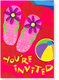 Flip Flop Beach Party Birthday Invitations