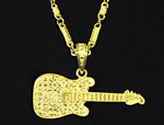 gold bling guitar necklace