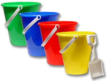 plastic shovel bucket green blue red yellow sand centerpiece