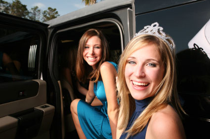 sweet sixteen birthday girls coming out of limousine