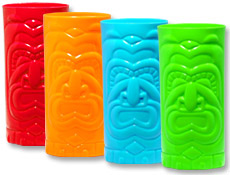 tiki cups neon red orange blue green blacklight responsive beach theme party