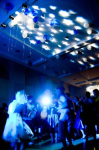 under the stars party theme blue ceiling star light