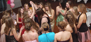Sweet 16 party girls dancing together