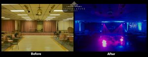 before and after sweet sixteen party venue with lighting