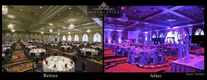 before and after event lighting camelot upper marlboro sweet sixteen party