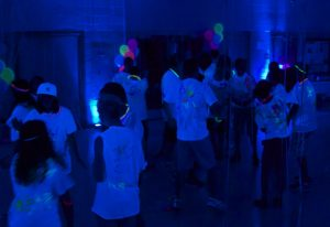 highlighter party with blacklights and kids