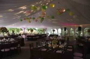 sweet sixteen venue tent with stars on ceiling