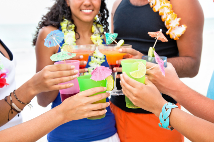 luau theme party drink leis beach tan girls guys