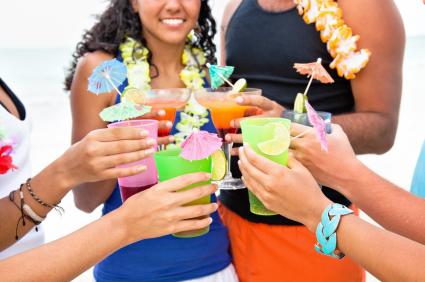luau theme party drink leis beach tan girls guys